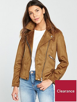 warehouse-suedette-biker-jacket-tan