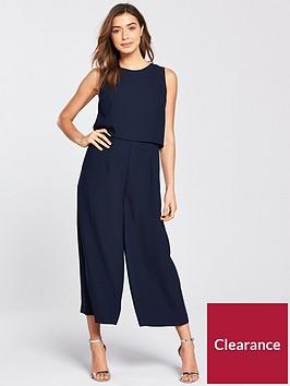 warehouse-double-layer-culotte-jumpsuit-navy