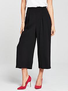 warehouse-soft-pleat-culottes-black