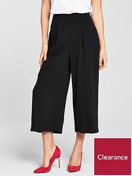 warehouse-soft-pleat-culottes-black