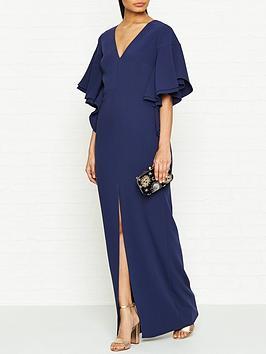 halston-heritage-ruffle-sleeve-v-neck-crepe-maxi-dress-blue