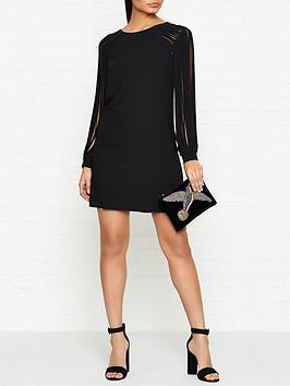 halston-heritage-multi-strip-long-sleeve-mini-dress-black
