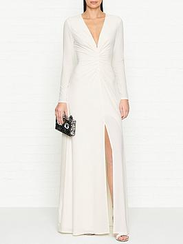 halston-heritage-long-sleeve-ruched-front-maxi-dress-cream