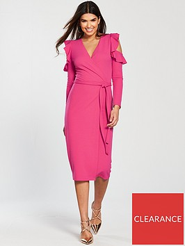 v-by-very-cold-shoulder-frill-detail-jerseynbspwrap-dress-hot-pink