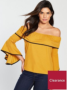 v-by-very-bardot-contrast-tipping-top-mustard