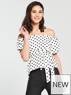 v-by-very-bardotnbsptop-with-puffed-sleeves-polka-dot-print