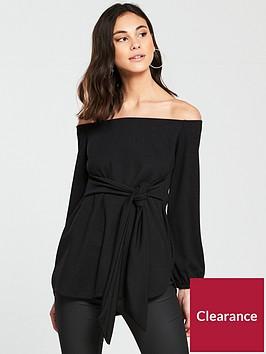 v-by-very-bardot-tie-waist-top-ndash-black