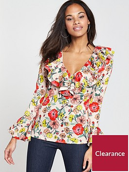 v-by-very-frill-neck-printed-top