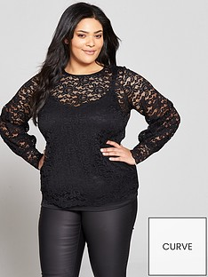 v-by-very-curve-ruched-sleeve-lace-top-black