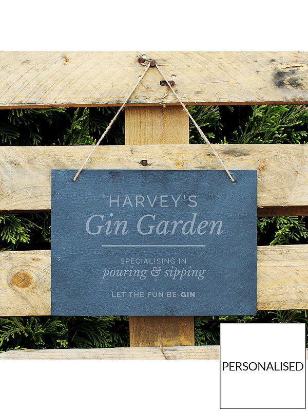 Personalised Gin Garden Large Hanging Slate Sign Very Co Uk