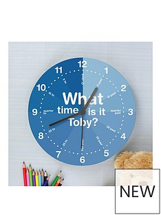 personalised-blue-tell-the-time-wooden-clock
