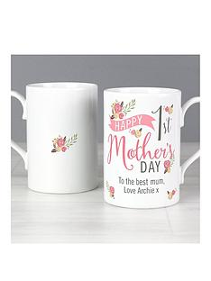 personalised-floral-bouquet-1st-mothers-day-mug-slim