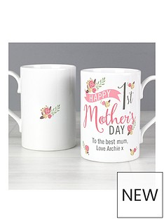 personalised-floral-bouquet-1st-mothers-day-slim-mug