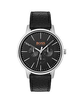 hugo-orange-copenhagen-black-dial-black-leather-strap-mens-watch