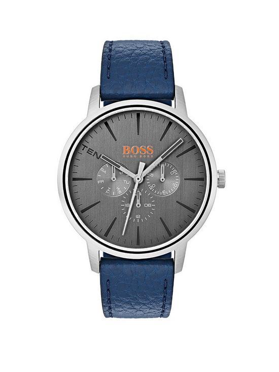 09e127b7442 HUGO Boss Orange Copenhagen Grey Dial Blue Leather Strap Mens Watch ...