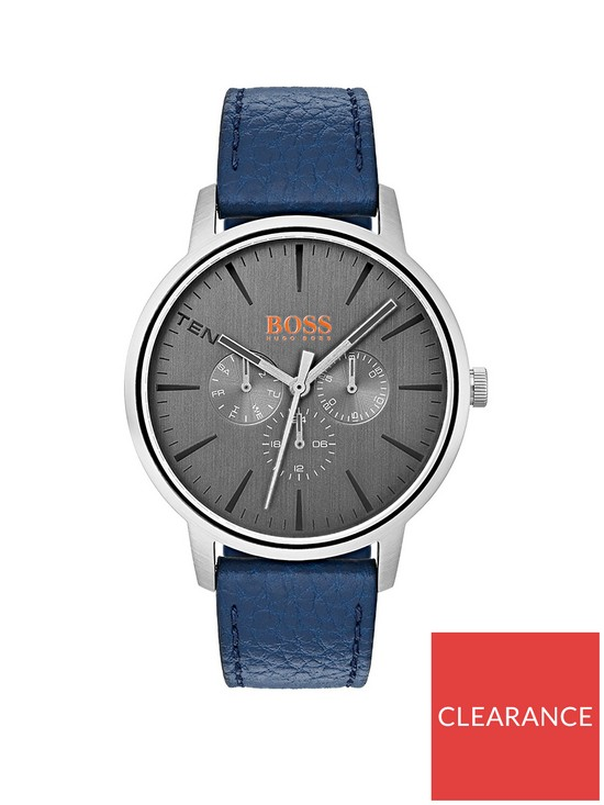 Boss Orange Copenhagen Grey Dial Blue Leather Strap Mens Watch