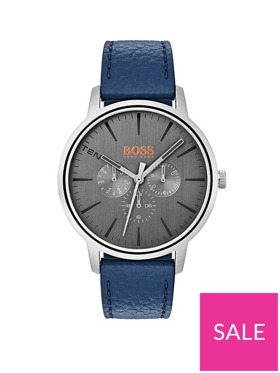 b92b0eb7bf02a5 HUGO Boss Orange Copenhagen Grey Dial Blue Leather Strap Mens Watch |  very.co.uk