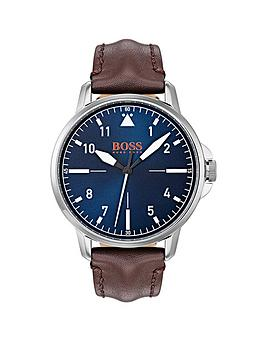 hugo-boss-orange-chicago-blue-dial-brown-leather-strap-mens-watch