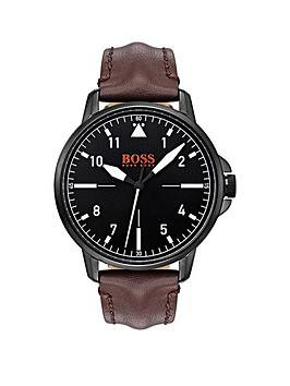 hugo-boss-orange-chicago-black-dial-brown-leather-strap-mens-watch
