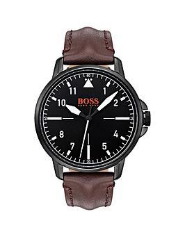 hugo-orange-chicago-black-dial-brown-leather-strap-mens-watch