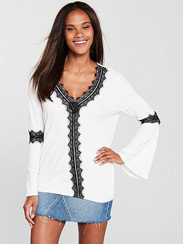 v-by-very-lace-trim-fluted-sleeve-top-ivoryblack