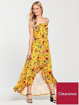 v-by-very-dip-back-button-through-jersey-dress-mustard-floral
