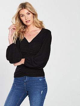 v-by-very-ruched-front-v-neck-top-black