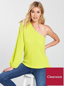 v-by-very-one-sleeve-waffle-top-limenbsp