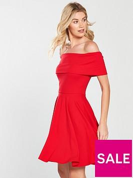 v-by-very-bardotnbspjersey-skater-dress-flame-red