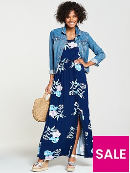 v-by-very-petite-macrame-trim-jersey-maxi-dress-blue