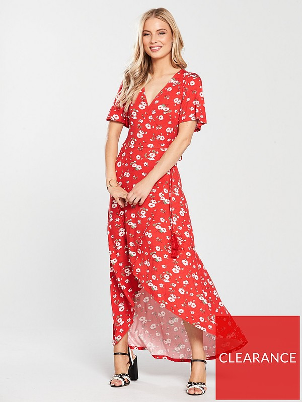 47c90d8809f0 V by Very Petite Dip Back Wrap Jersey Maxi Dress - Red Floral | very ...