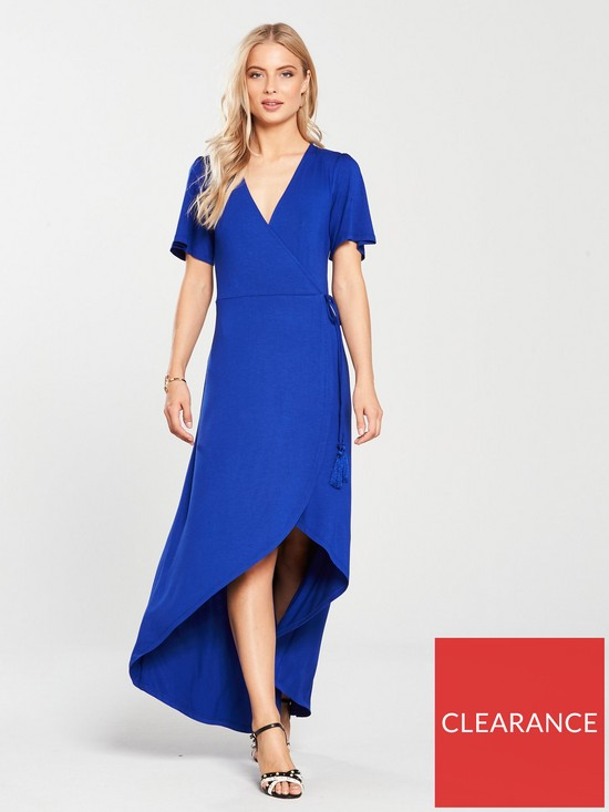 a9e86818d0a V by Very Petite Dip Back Wrap Jersey Maxi Dress - Electric Blue ...