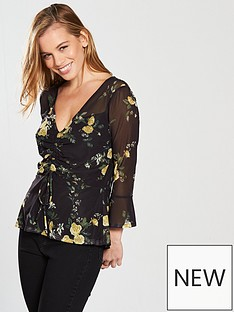 v-by-very-petite-ruched-front-mesh-top-blacknbsp