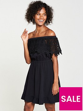 v-by-very-scalloped-lace-bardotnbspjersey-dress-black