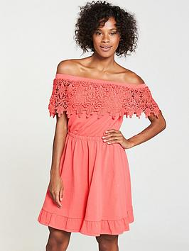 v-by-very-scalloped-lace-jerseynbspbardot-dress-coral