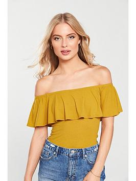 v-by-very-bardot-frill-bodysuit-mustard
