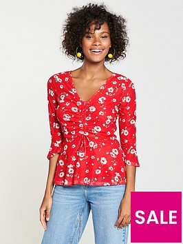 v-by-very-mesh-drawstring-front-top-red-floral