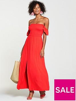 v-by-very-petite-shirred-bardotnbspjersey-maxi-dress-orange