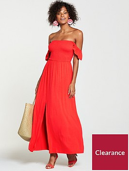 v-by-very-petite-shirred-bardotnbspjersey-maxi-dress-orange
