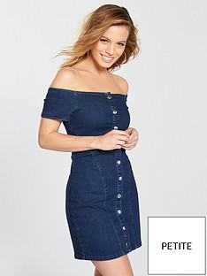 v-by-very-petite-bardot-button-denim-dress