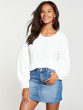 v-by-very-bishop-sleeve-cotton-top-ivory