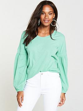 v-by-very-bishop-sleeve-cotton-top-dusted-mint