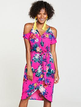 v-by-very-wrap-cold-shoulder-jersey-dress-pink-floral