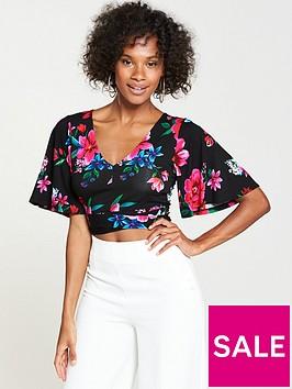 v-by-very-crop-angel-sleeve-top-floral-print