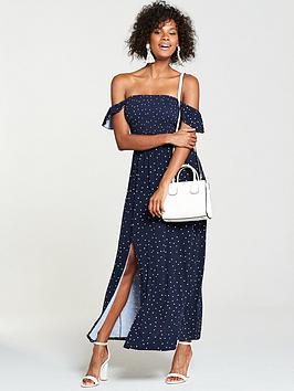 v-by-very-shirred-bardotnbspjersey-maxi-dress-spot-print