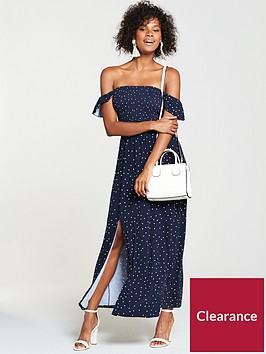 v-by-very-shirred-bardotnbspjersey-maxi-dress-spot-print