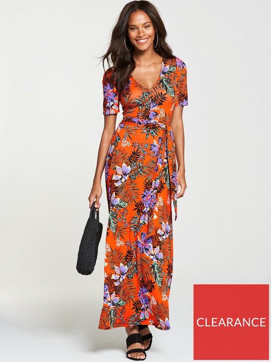 7ba57c93c18c V by Very Deep V-Neck Jersey Maxi Dress - Tropical Print
