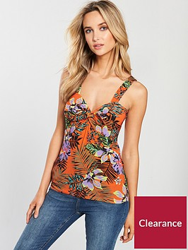v-by-very-tie-front-vest-tropical-red