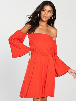 v-by-very-bardot-dip-front-jersey-dress-orange