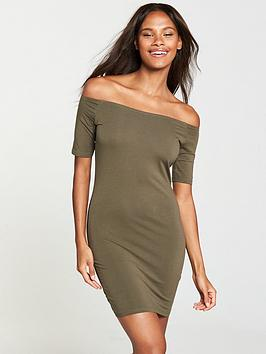 v-by-very-basic-bardot-jersey-dress-khaki